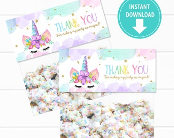 Gold Glitter Watercolors Magical Unicorn Bag Toppers, Thank you Tags, Bag Labels, Unicorn Treat Bags, Party Favors - Instant Download