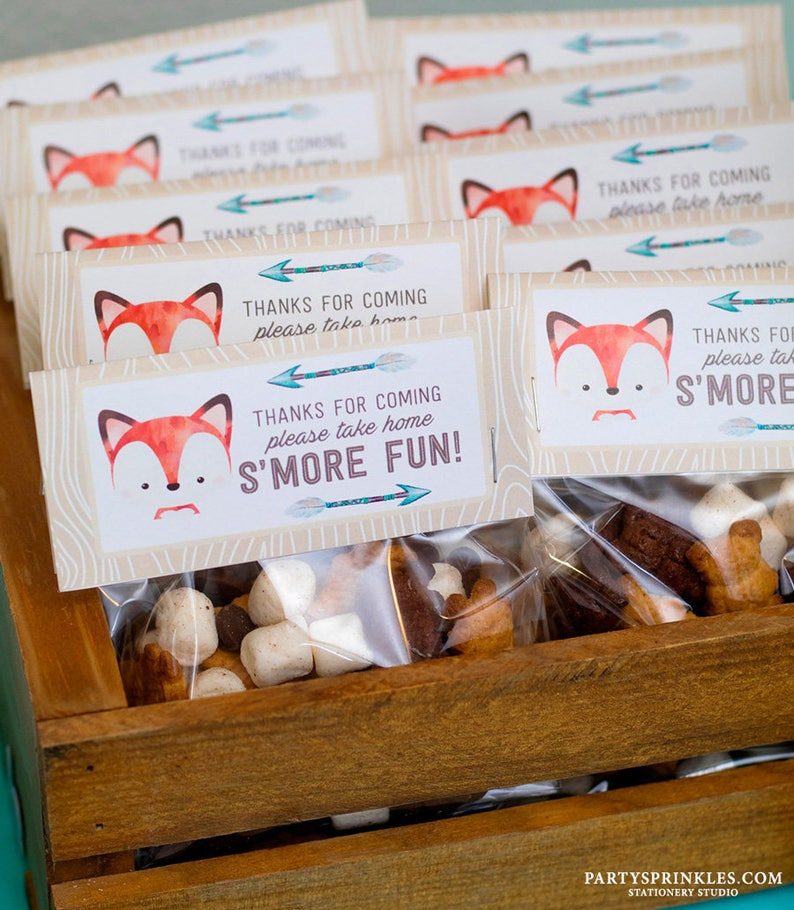 Fox Woodland Party Favors  Goodie Bag Toppers Fox Baby image 0