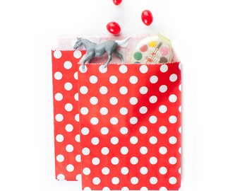 Red Polka Dots Paper Bags (Set of 12) - Goodie bags, Favor Bags, Favor Bags , First Birthday, Kids party