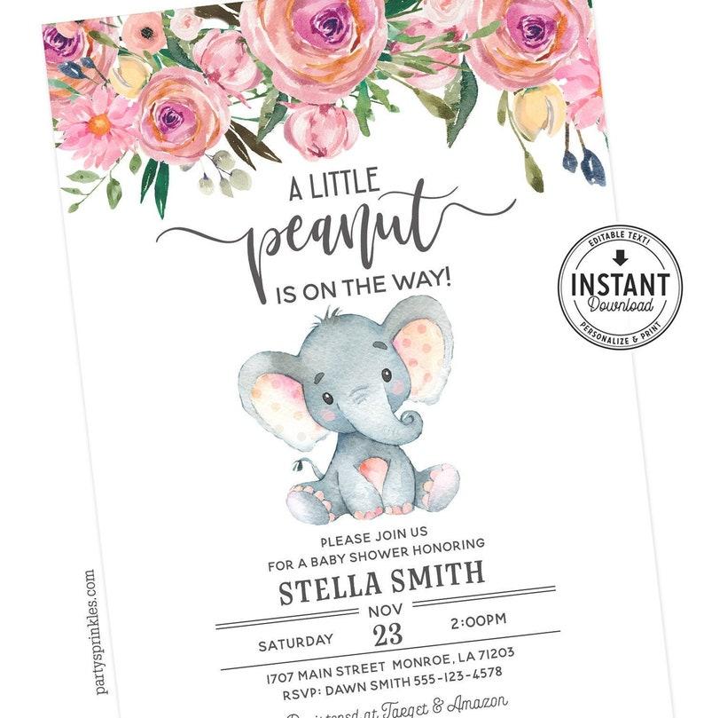 Pink Elephant Baby Shower invitation card Elephant theme image 0