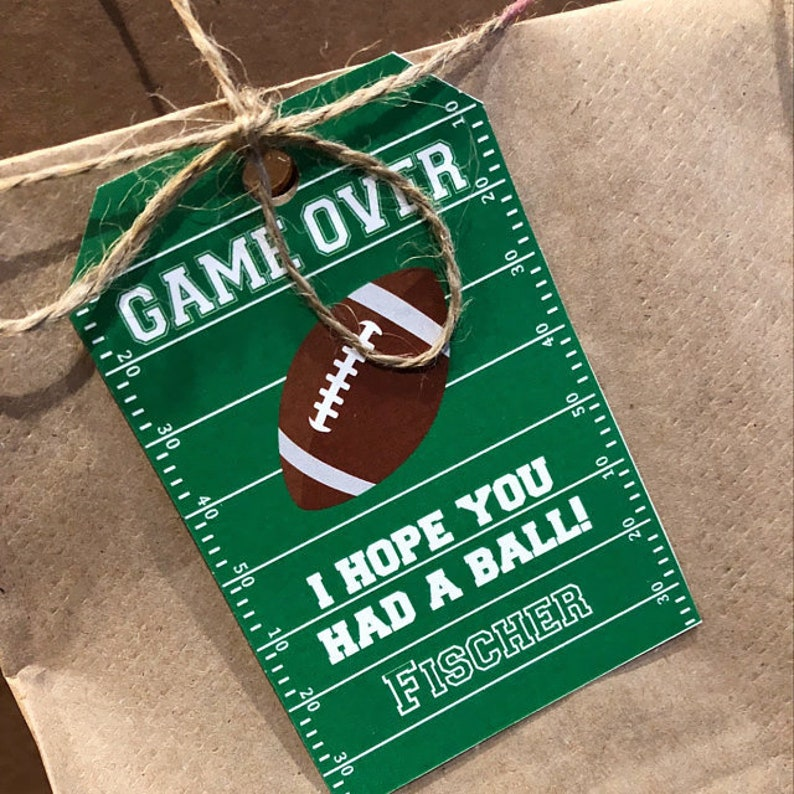 Football Sports Thank you note tags for Favor boxes & bags  image 0