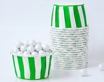 Green Candy Cups - Green Stripes  Snack, treat  cups - Great for Snacks, Nuts, Chocolates, Popcorn - Set of 20