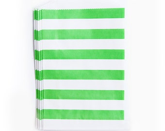 Lime Green Rugby Stripes fancy Paper Bags (Set of 12) - Goodie bags, Favor Bags, Favor Bags , First Birthday, Kids party