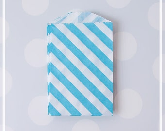 Light Blue Diagonal Stripes FAVOR BAGS - Paper bags for candy, peanuts, favors - Boy Baby shower  20  bags