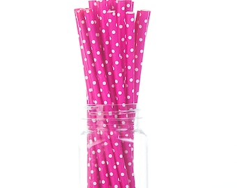 Hot Pink Tiny Polka Dots Paper Straws - Set of 25 - Girl's Party Supplies & Decor (PREMIUM quality!)