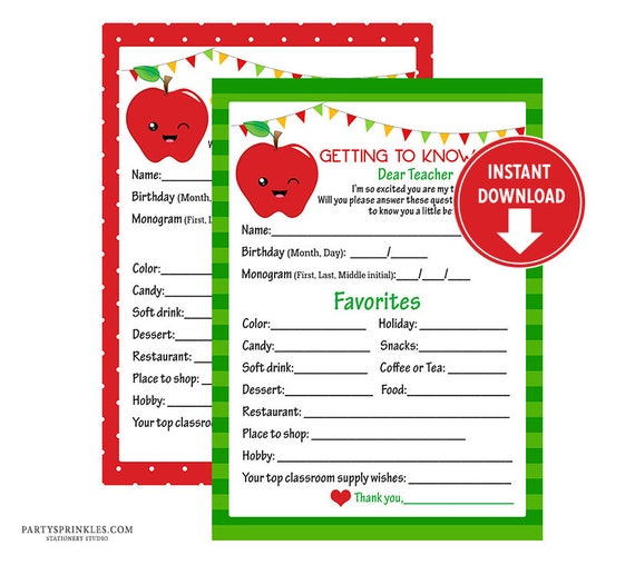 picture about Teacher Favorite Things Printable named 2 Printable Pink and Inexperienced Trainer Questionnaire, Lecturers