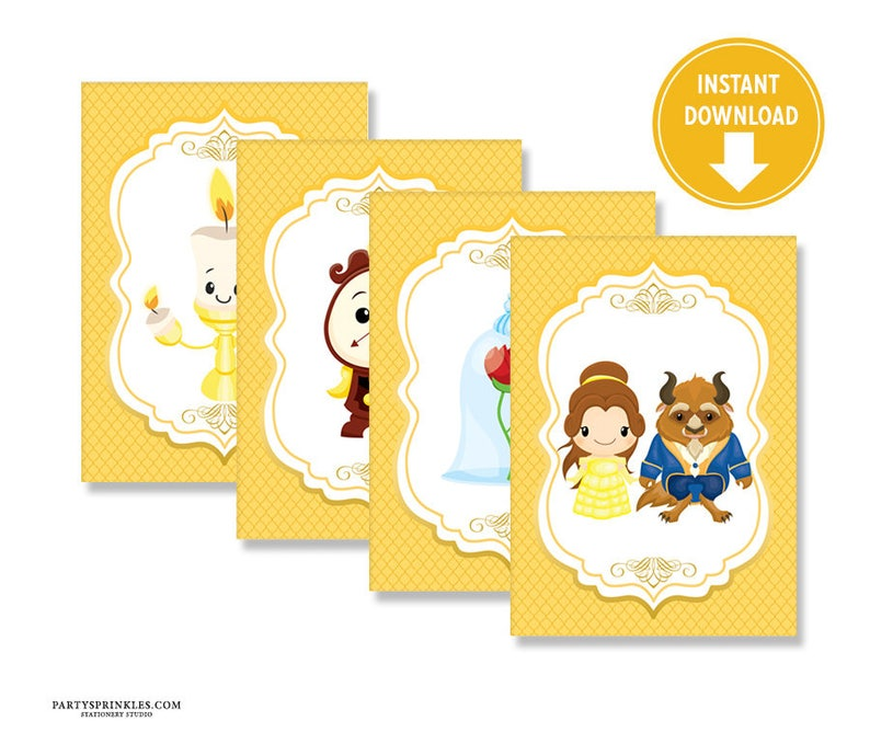 Printable Beauty and the Beast Decorative Images Center Pieces image 0