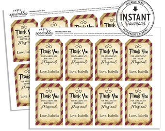 Harry Potter Inspired Favor tags for goodie / treat bags - Wizard Party, Harry Potter Party decor, Harry Potter School, Gryffindor