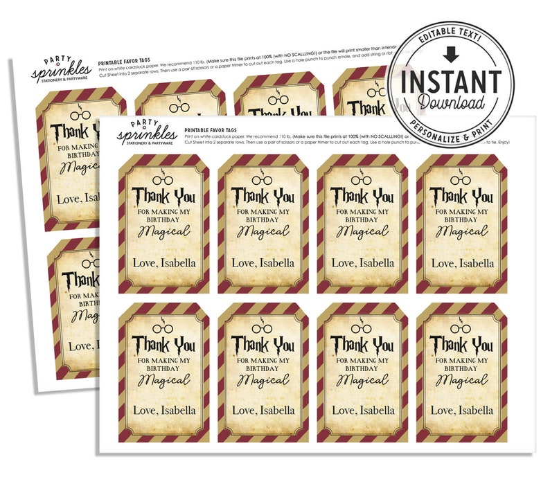 Harry Potter Inspired Favor tags for goodie / treat bags  image 0