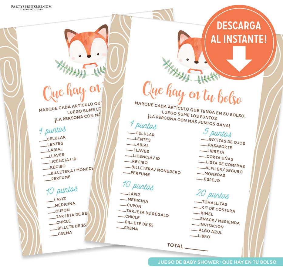 Fox Baby Shower Whats In Your Purse Baby Shower Game In Etsy