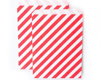 Red Diagonal Stripes Paper Bags (Set of 12) - Goodie bags, Favor Bags, Favor Bags , First Birthday, Kids party