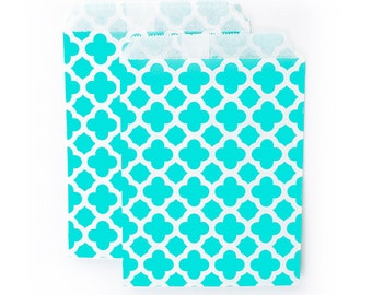 Aqua Quatrefoil fancy Paper Bags (Set of 12) - Goodie bags, Favor Bags, Favor Bags , First Birthday, Kids party