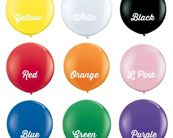 """Giant 36"""" Balloons for Birthday parties, Weddings, Baby Showers - Yellow, White, Black, Red, Orange, Pink, Blue, Green, Purple"""