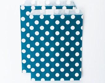 Navy Dark Blue Polka Dots Paper Bags (Set of 12) - Goodie bags, Favor Bags, Favor Bags, Birthday, Wedding