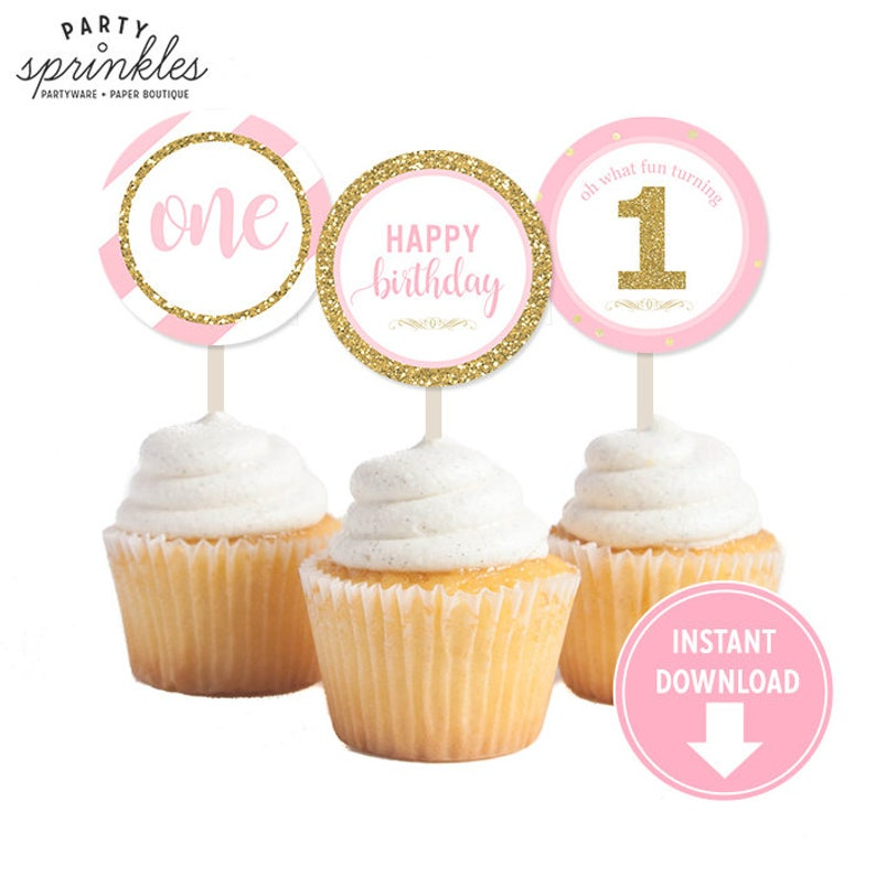 Gold Glitter and Pink  Girl First 1st Birthday Party Cupcake image 0