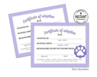 Purple Puppy Adoption Certificates, Girl Puppy birthday party - DIY Printable Digital Design