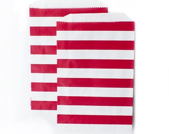 Ruby Red Rugby Stripes Paper Bags (Set of 12) - Goodie bags, Favor Bags, Favor Bags , First Birthday, Kids party