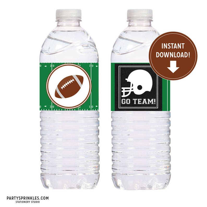 Printable Football Water Bottle Labels Tailgate Wrappers image 0