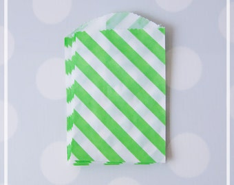 Lime Green Favor Paper Bags, Diagonal Stripes, Bags for candy, peanuts, and party favors - 20 Small Mini Bags