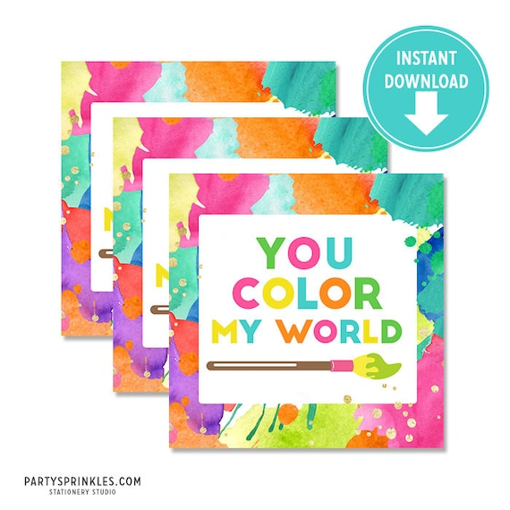 image about You Color My World Printable identify Printable Neon Artwork Birthday \