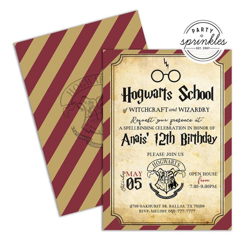 Editable Harry Potter Inspired Birthday Party Invitation  image 0