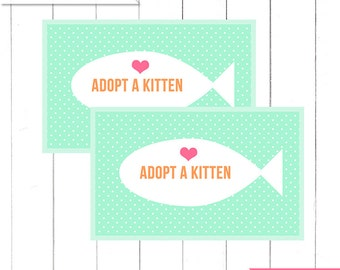 "Mint Kitten Birthday Party ""Adopt a kitten"" Favor tags for Boxes  - Printable Digital Design"