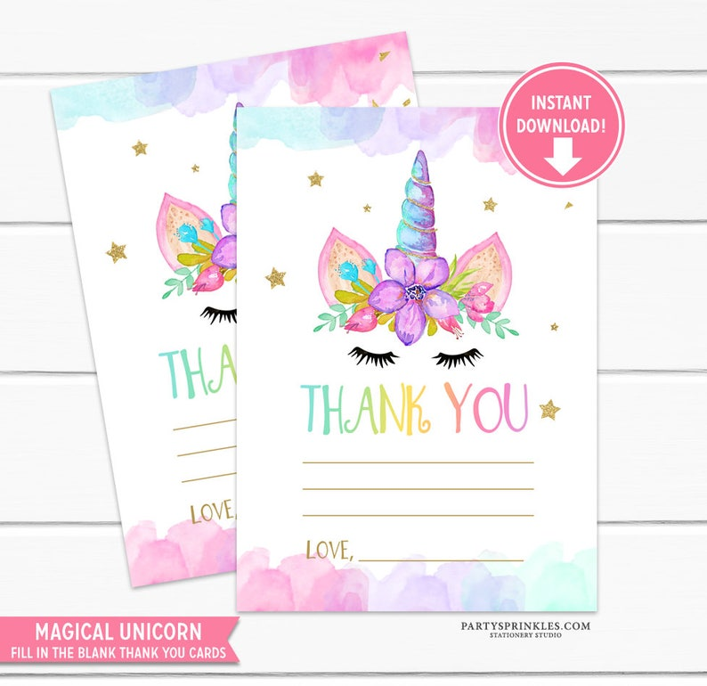 Watercolors Unicorn Fill in the Blank Thank You Cards Gold image 0