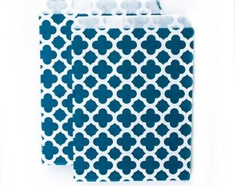 Navy Dark Blue Quatrefoil fancy Paper Bags (Set of 12) - Goodie bags, Favor Bags, Favor Bags ,Birthday, Wedding