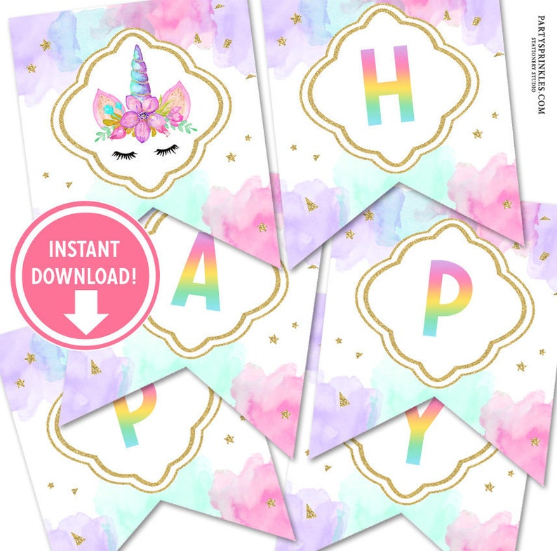 Unicorn Happy Birthday Banner Pennant flags  Pastel Colors image 0