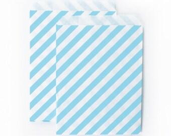 Light Blue Diagonal Stripes fancy Paper Bags (Set of 12) - Goodie bags, Favor Bags, Favor Bags , First Birthday, Kids party