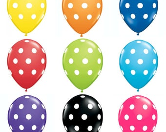 """11"""" Polka Dots Balloons for Birthday parties, Weddings, Baby Showers - Blue, Green, Purple, Yellow, Black, Red, Orange, Pink Balloons"""