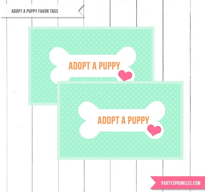 Mint Puppy Birthday Party Adopt a Puppy Favor tags image 0