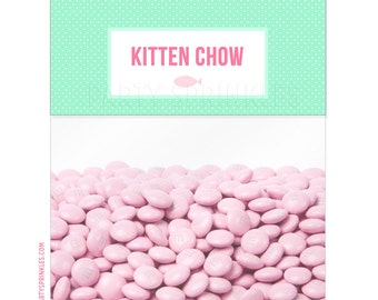 Kitten Chow Goodie Treat Bag Toppers - DIY Printable - Instant Download - Kitten Party Favors