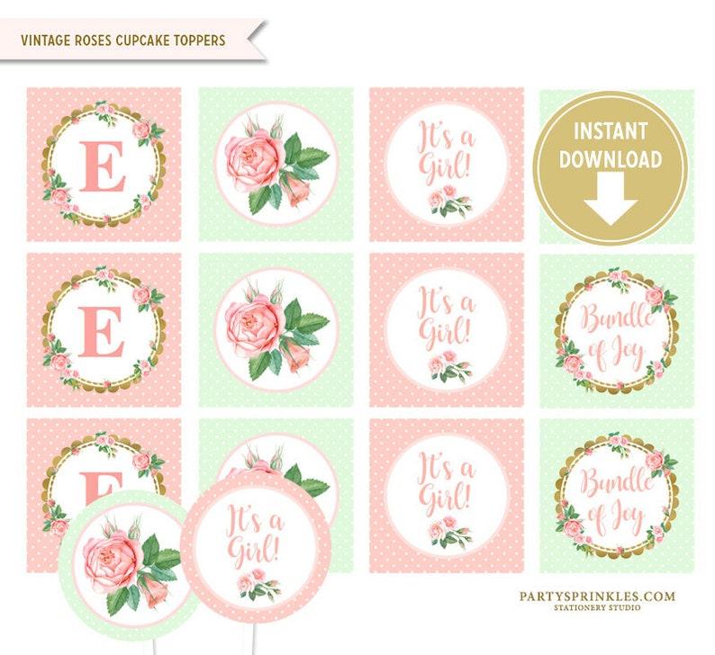 Elegant Printable Peach & Mint Vintage Roses Cupcake Toppers image 0