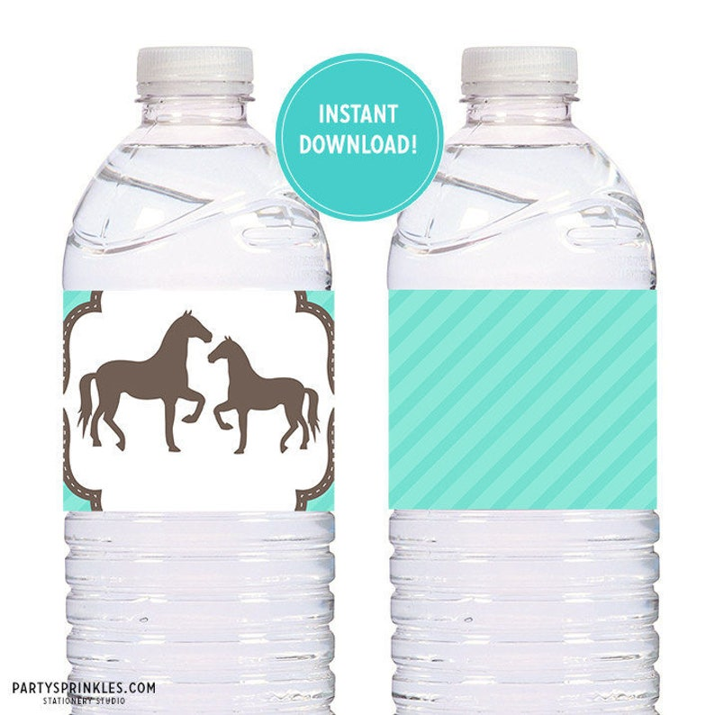 Printable Aqua Teal Pony Horses Birthday Party Labels for image 0