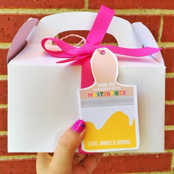 Art Birthday Party Thank You Tags Honorees Name For Favor Bags Boxes