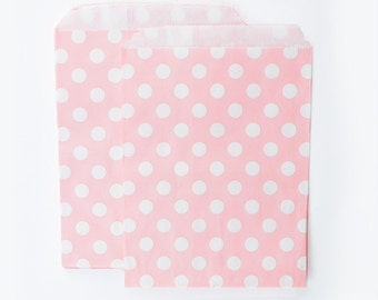 Light Pink Polka Dots fancy Paper Bags (Set of 12) - Goodie bags, Favor Bags, Favor Bags , First Birthday, Kids party
