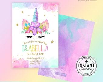 Editable Rainbow Unicorn Birthday Party Invitation Design, Gold Glitter and Watercolors, Unicorn Birthday decor -  Instant Download