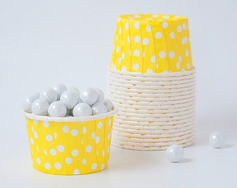 Candy Cups - YELLOW White dots  Snack, treat  cups - Set of 20