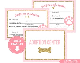 Pink Gold Glitter Kitten & Puppy Adoption Certificate and Welcome Sign, Kitten Puppy Birthday Party decor - Instant Download