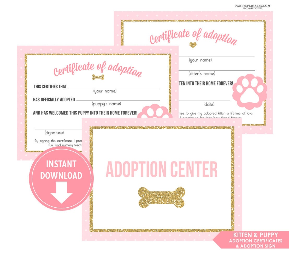 Pink Gold Glitter Kitten Puppy Adoption Certificate And Etsy