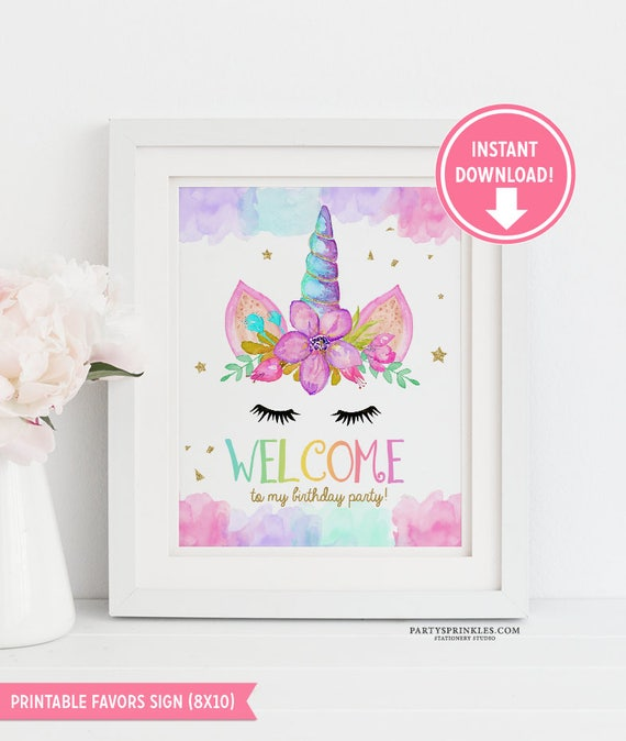 Unicorn Welcome Sign Gold Birthday Decor Party