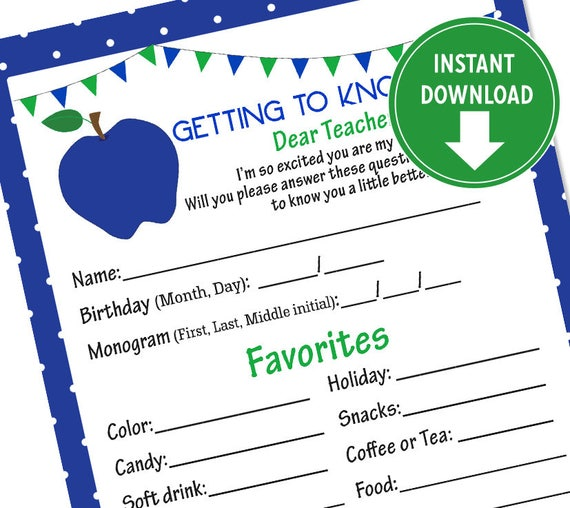 image about Teacher Favorite Things Questionnaire Printable referred to as Printable Blue and Environmentally friendly Trainer Questionnaire, Academics