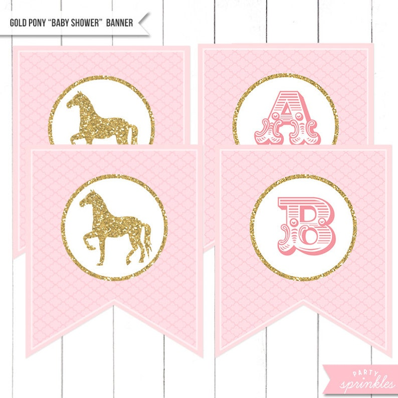 Gold Glitter & Pink Vintage Pony Horses Baby image 0