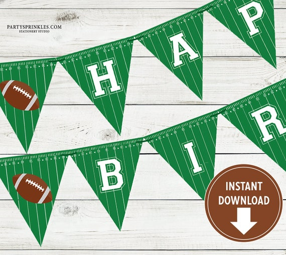 Printable Football Happy Birthday Banner Sports Party