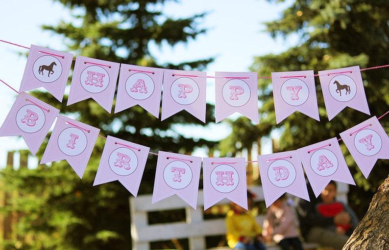 Pink Vintage Pony Party Happy Birthday Banner DIY Printable image 0