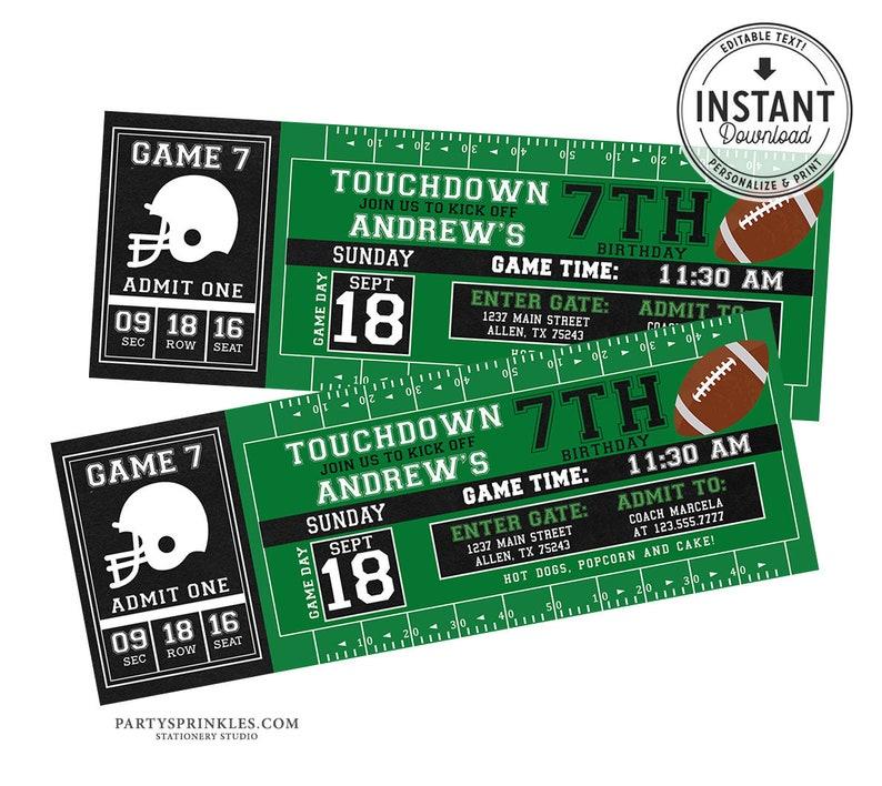Printable Football Birthday Invitation Football Ticket image 0