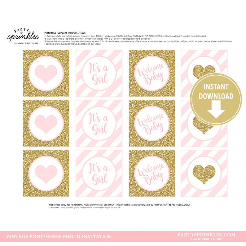 Baby Shower Light Pink & Gold Glitter Glitter Cupcake Toppers image 0