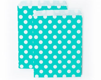 Aqua Polka Dots fancy Paper Bags (Set of 12) - Goodie bags, Favor Bags, Favor Bags , First Birthday, Kids party