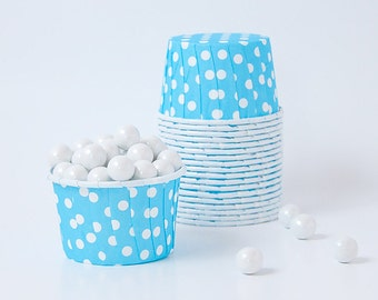 Candy Cups - Light Blue Polka Dots , Snack cups - Great for Snacks, Nuts, Chocolates, Popcorn - Set of 20